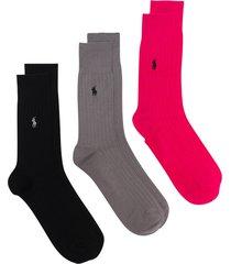 polo ralph lauren multicoloured ribbed logo socks set - pink