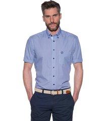 campbell campbell casual shirt met korte mouwen blauw