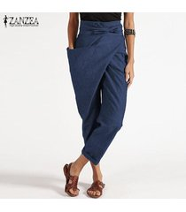 zanzea cremallera de las mujeres de la correa harem pantalón casual de las señoras tamaño holgados pantalones irregular plus -azul