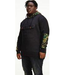 tommy hilfiger men's big and tall organic cotton camo hoodie black / camo - 5xl