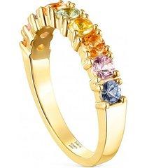 anillo alianza glaring de plata vermeil con 9 zafiros multicolor tous