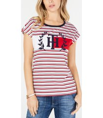 tommy hilfiger cotton logo striped t-shirt, created for macy's