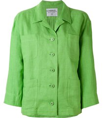 chanel pre-owned loose-fit blazer - green