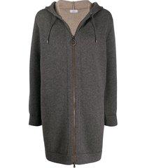 brunello cucinelli elongated zipped hooded cardigan - grey