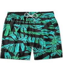 short de praia lucas lunny floral verde preto
