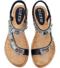 sandalias planas de rayas a cuadros para mujer-negro
