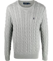 polo ralph lauren cable knit knitted sweatshirt - grey