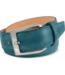 pakerson designer men's belts, men's petrol blue hand painted italian leather belt