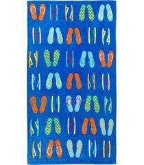martha stewart collection flip flops velour beach towel, created for macy's bedding