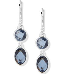 anne klein silver-tone blue stone double drop earrings