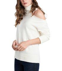 women's 1.state cutout shoulder turtleneck sweater, size xx-small - white