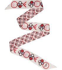fendi wrappy floral print scarf - white