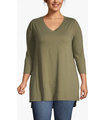 lane bryant women's lane essentials 3/4-sleeve high-low tunic 14/16 olive