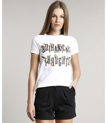 "blusa feminina ""bothanical thoughts"" manga curta decote redondo off white"