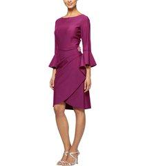 women's alex evenings bell sleeve sheath dress, size 12 - pink