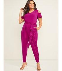 lane bryant women's cold-shoulder jumpsuit 22/24 raspberry rush