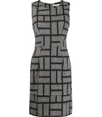 prada pre-owned 1990s houndstooth slim fit dress - black