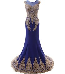sheer gold lace long mermaid corset low back formal prom evening dresses royal b