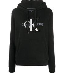 calvin klein jeans logo print hoodie - black