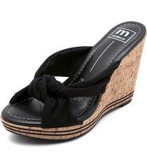 sandalia plataforma negro-camel moleca