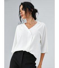blusa de media manga con cuello de solapa yoins