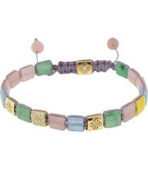emerald, mother of pearl, and aquamarine lock bracelet