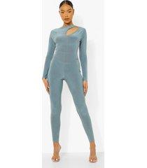 jumpsuit met uitsnijding en lange mouwen, slate blue