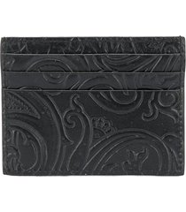 etro paisley print card holder - black