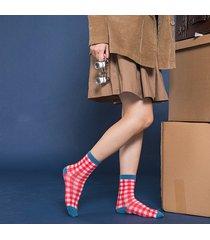 womens vogue casual satin cotton lattice calze wild soft comodo tubo centrale calze