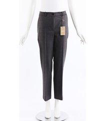michael kors collection 2018 plaid wool ankle pants black/gray sz: m