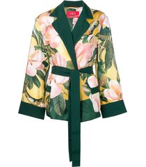 f.r.s for restless sleepers floral belted jacket - yellow