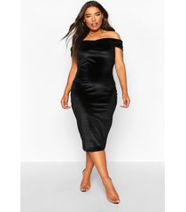 plus bardot velvet midi dress, black