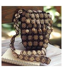 coconut shell shoulder bag, 'bouquets' (medium) (thailand)