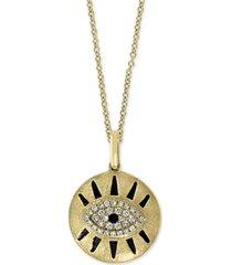 "effy sapphire (5/8 ct. t.w.) & diamond (1/10 ct.t.w.) evil eye 18"" pendant necklace in 14k gold"