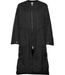 vapor coat gevoerde lange jas zwart hope