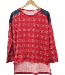 sweater lanilla rojo mecano escocés plus size
