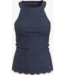 tommy hilfiger women's essential solid halter sweater tank b0840 dark indigo heather - xxl