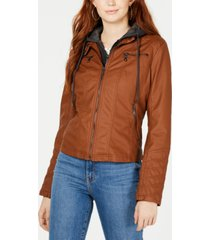 maralyn & me juniors' hoodie faux-leather moto jacket