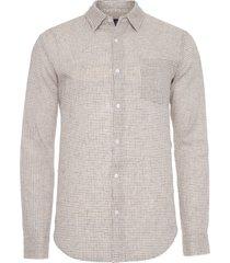 camisa masculina thin plaid - bege