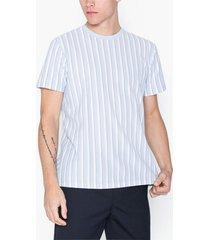 topman blue pique stripe t-shirt t-shirts & linnen blue