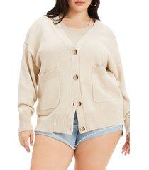 women's good american chunky oversize cardigan, size 00/0 - beige