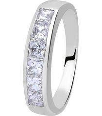 anello a fascia in oro bianco e zirconi per donna