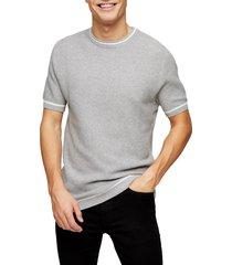men's topman textured short sleeve crewneck sweater, size large - grey