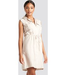 trendyol tied midi dress - beige