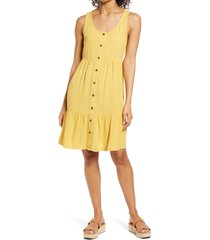 women's caslon front button tiered tank dress, size xx-large - yellow