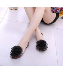 beach shoes organza roses jellies sandals flats flops summer women casual shoes