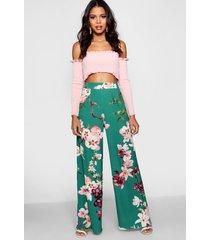 bloeenprint broek met wijde pijpen en hoge taille, smaragd