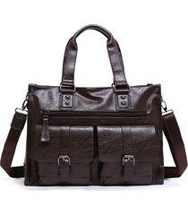 cartella da lavoro in pelle pu vintage grande capacità crossbody borsa borsa per uomo