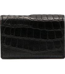 bottega veneta textured foldover wallet - black