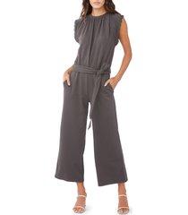 women's sundays marie tie waist jumpsuit, size 0 - grey